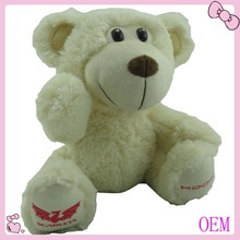 2015 Hot selling sitting white plush stuffed teddy bear