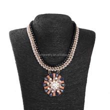2015 New Design Fashion Necklace Multiple Chain Necklace Big Round Pendant Necklace