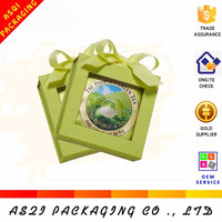 New products full color logo printed cardboard paper tea box with long ribbon