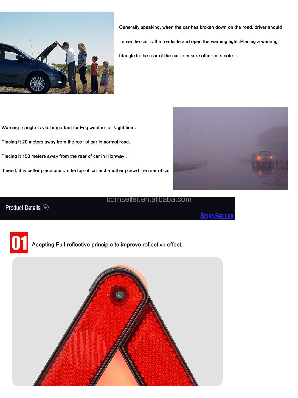 2016 vente chaude accessoire de voiture triangle de signalisation réfléchissants