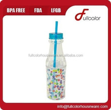 FDA pass plastic soda insulated bottle with straw
