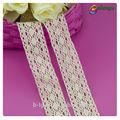 Guangzhou patrón de flores de tela de colores 100% adornos de algodón de manga larga vestidos de encaje blanco