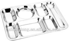 7Case School Usage Stainless Steel Food Tray