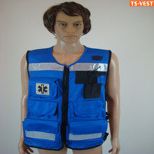 Blue canvas fishing vest multi pockets