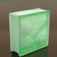 Color Hollow inner light green art glass block for palaza,office building and shopping mall
