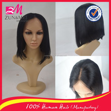 New fashion bob wig cheap brazilian hair middle part lace front wig for sale