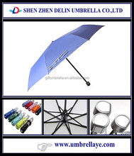 Pretty plastic handle uv coated 3 folding personal sun umbrellas