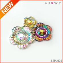 clothing accessories epoxy resin stones wholesale Flat Back Rhinestone , flower shape Resin Cabochon Gemstone Accessories ,Neon