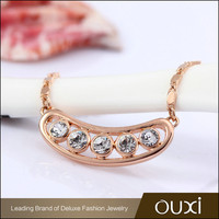 10540-2 OUXI gold plated jewelry women crystal top designed statement necklace