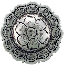 Antique Silver Scalloped Floral Conchos