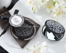 Wedding favor and giveaways-- Damask Elegant Black & White Make up Mirror Compact Favors
