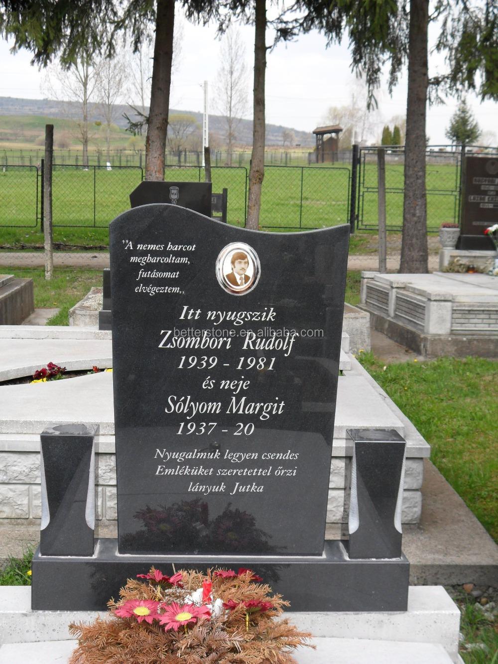 Black Granite Headstones : Black granite cemetery monument headstone and grave