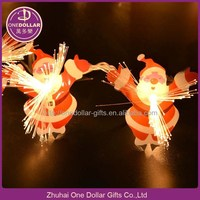 LED Warm White Santa Claus Pendant Fiber Optic String Light Christmas Party Lights, with Tail Plug