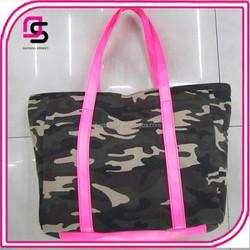 Handsome Camouflage Color Pink PU Strapless Canvas Tote Bag Shoulder Bag