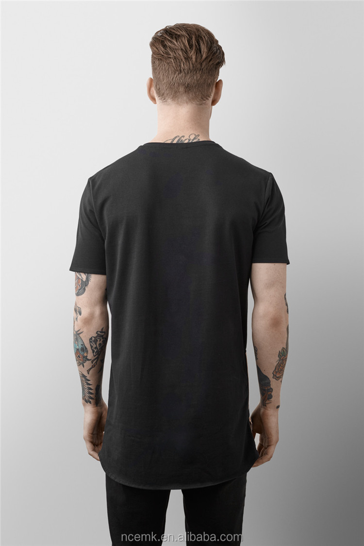 black t shirt with zipper mens oversized t shirt wholesale