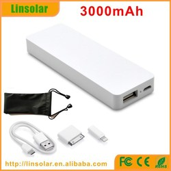 Paypal Acceptable Portable power bank 3000mah with kinds of connectors and pouch