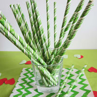 Lime Green stripe EaT DrinK Be MERRY biodegradable Paper Straws
