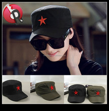 fashion vintage distressed cadet hat cap with Red embroidery five-pointed star