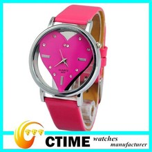 2014 Newest Wristwatches leather watch women transparent heart design