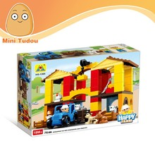 High quality educational DIY toys happy farm mode plastic building blocks toys for kids