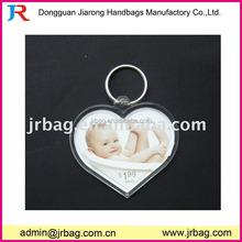 Custom heart shaped acrylic clear photo frame key chains for lovers