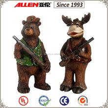 "17.3"" resin reindeer gun man , standing reindeer hunter, holding gun reindeer garden statue"