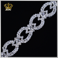 wholesale handmade welding silver crystal cup chain rhinestone chain trimmings for bridal evening dress