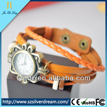Vintage Inspired Leather Rope Wrist Bracelet Watch With Butterfly