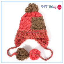 2015 new design knitted hat earflap beanie hat