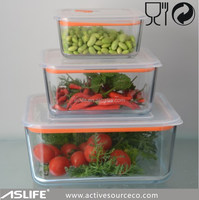 Glass Container With PP Lid, Microwave Oven Safe Rectangular Glass Container For Food Storage
