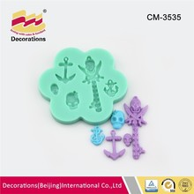 5 Hole antique silicone fondant mold for fondant chocolate candy soap clay resin craft skull magic key anchor