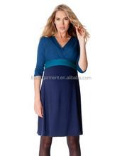 Hot sales cotton spandex rayon fashion breastfeeding formal office Women Maternity dresses