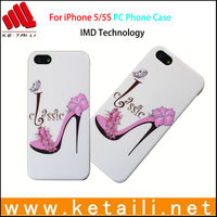 mini slim pc mobile phone case for iphone5 iphone 5S case with photo of high-heeled shoes
