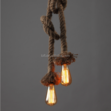 Western style handmade hemp rope vintage lighting simple style chandelier lamp