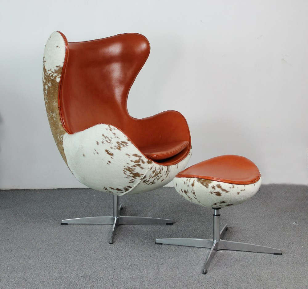 replica arne jacobsen cow hide egg chair mkf37lc view leather chair