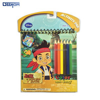 kids activity paper drawing book with color pencils