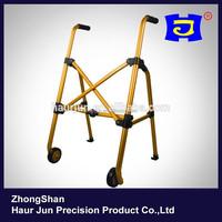Yellow foldable standing walker & rollator for elderly