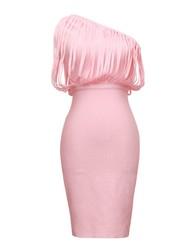 2015 Fashion One Shoulder Short Pink Prom Dress