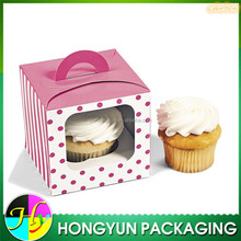 Creative paper single cupcake packaging box with handle with PET window