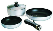 4pc aluminum non-stick removable handle cookware