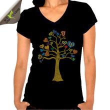 Beautiful love heart tree female v-neck t-shirt