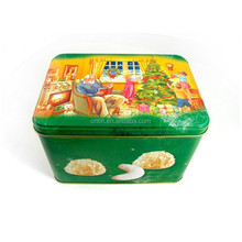 food grade cookie tin box/tin container for cookie/decorative cookie tin box wholesale
