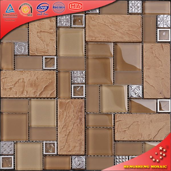 Tc13 acero inoxidable vidrio marco mix mosaico baldosas for Ceramicas para cocina precios