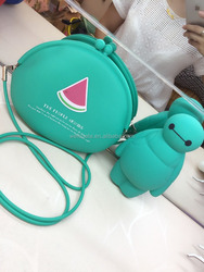 2015 hot selling watermelon mint green lovely silicone crossbody bag for ladies cheap wholesale