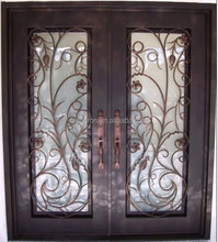 artistic wrought iron double entry door from factory