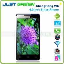 Cheapest ChangHong W6 QualcomSmart Phone 4inch Multi Touch Google OS Qualcomm CPU Dual Sim Dual Camera Mobile Phone With 3G+AGPS