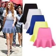 VT2 summer 2015 candy color bodycon falbala mature women short skirt