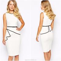 OEM Wholesale ladies office wear white sleeveless zip back bodycon office dress