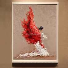 Free Shipping Superb Skills Artist New Painted Abstract Spanish Dancer With White And Red Dress Dancing Oil Painting On Canvas