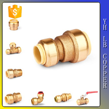 "LinBo LBA180 1/2"" spigot (5/8"" O. D.) x 3/8"" O. D. tubing (Push Fit) Brass Lead Free Pneumatic Plastic Push Fit Fittings"